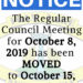 October Council Meeting Moved