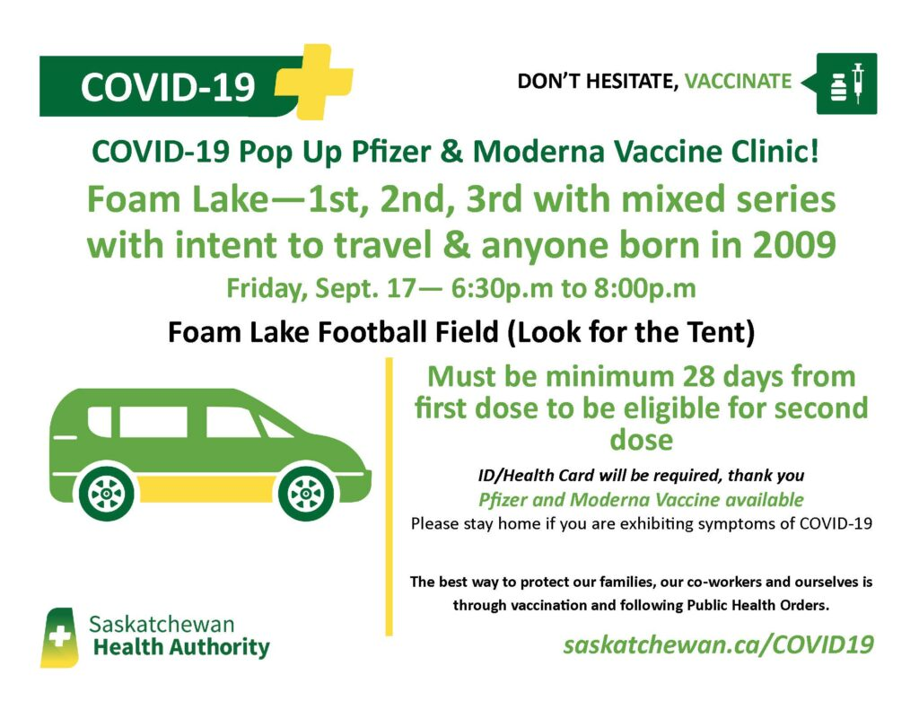 Pop-up Vaccination Clinic @ Foam Lake Football Field (look for tent)