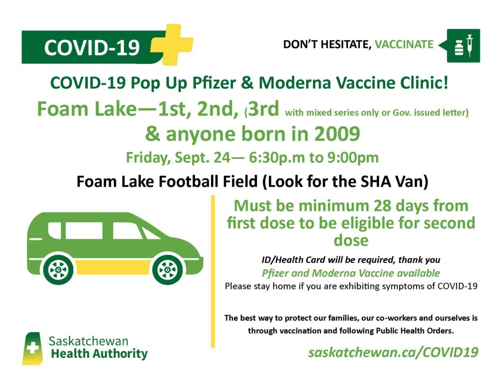 Pop-Up Covid-19 Vaccination Clinic @ Foam Lake Football Field (look for tent)